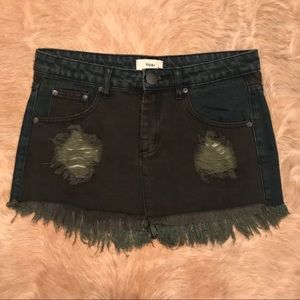 Tobi Denim Jean Mini Skirt Destroyed Patchwork 4